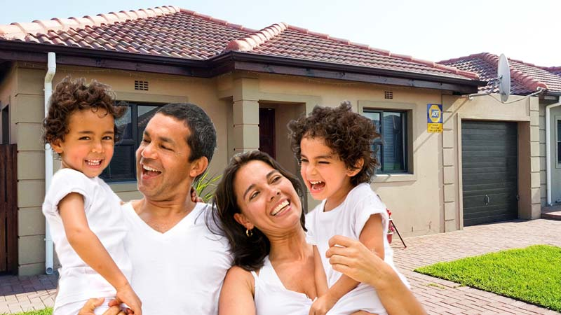 Happy family with affordable house